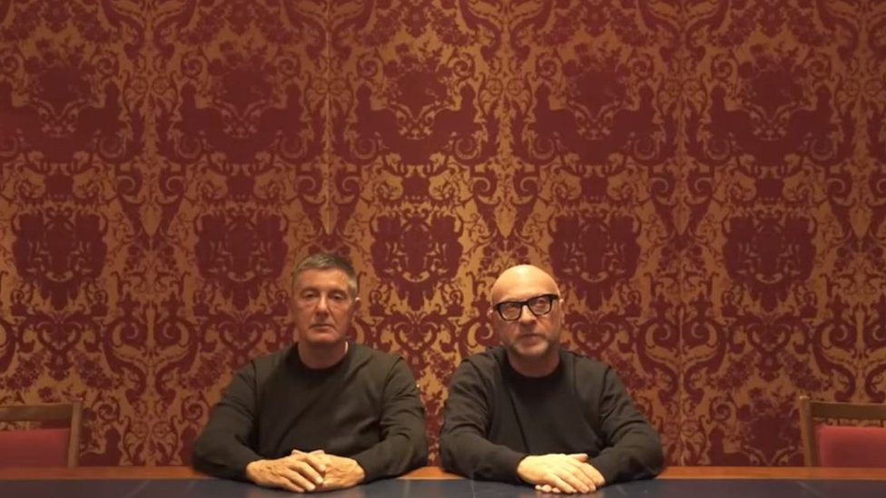 Screengrab of video showing Dolce and Gabbana founders apologising for the campaign