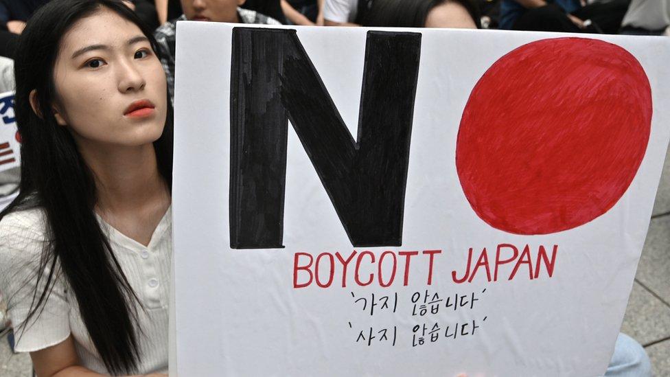 Manifestante en Corea del Sur
