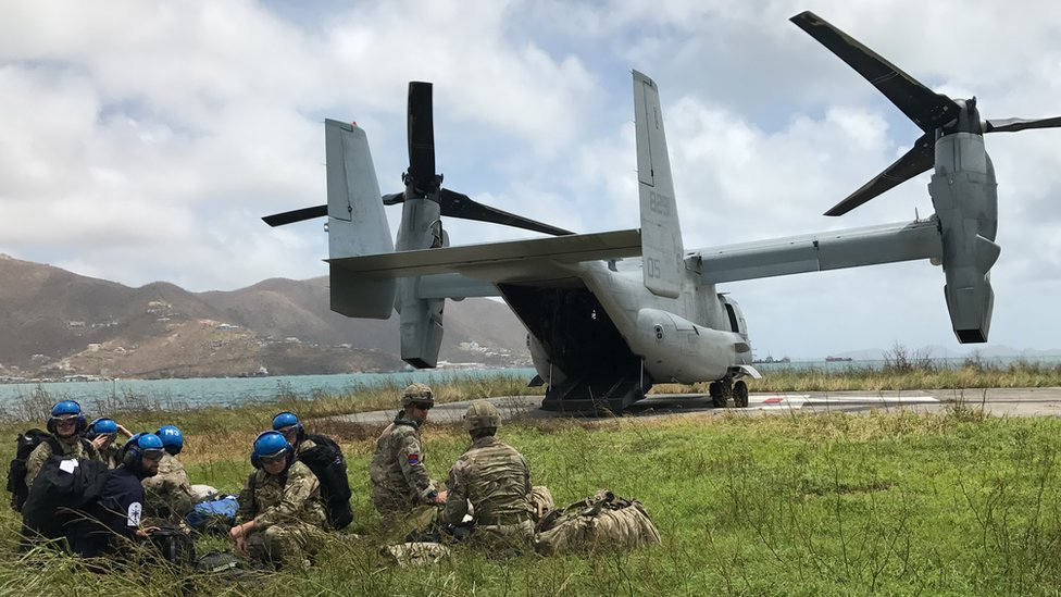 USMC Osprey drops supplies for British soldiers in the British Virgin Islands