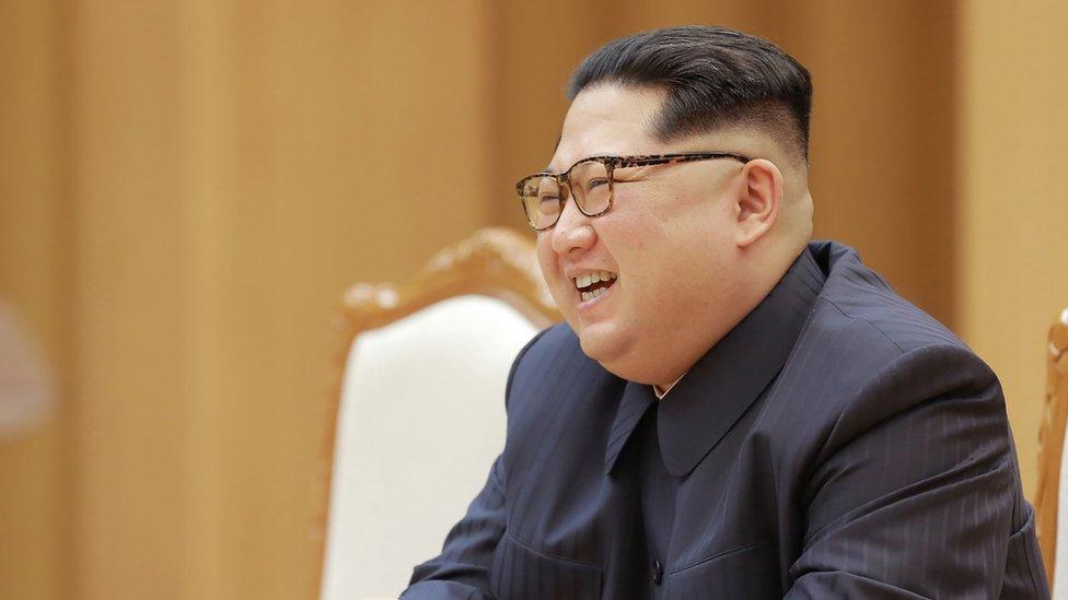 Kim Jong-un en Pyongyang, 16 abril