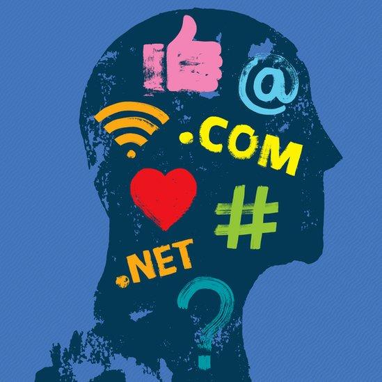 Una ilustración con mensajes de internet
