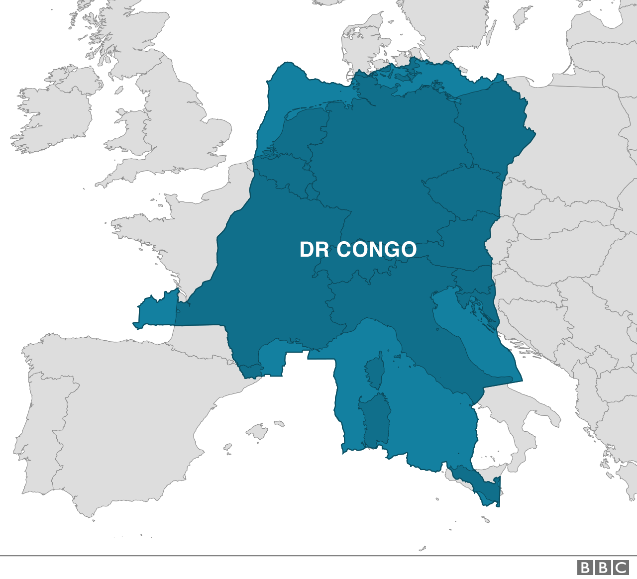 Map of DR Congo over Western Europe