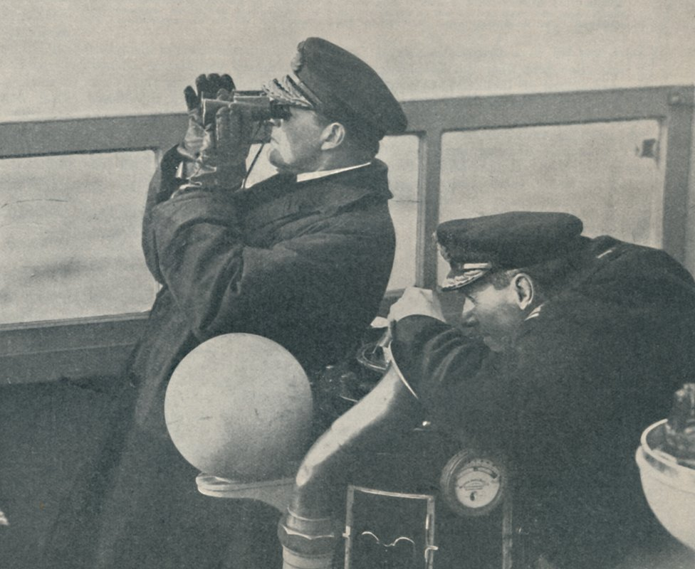 Admiral Sir David Beatty, Commander-in-Chief of the Grand Fleet, watching the German High Seas Fleet heading the Firth of Forth', circa 1918,