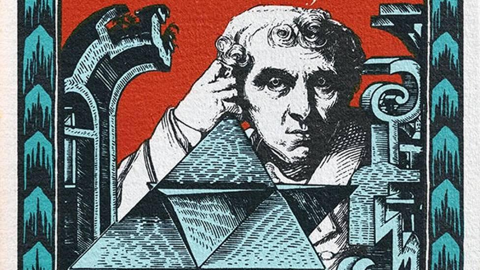"""Detalle de la portada de """"Hinton, Relatos científicos"""" de La Biblioteca de Babel, colección de lecturas fantásticas dirigida por Jorge Luis Borges, Ediciones Siruela."""