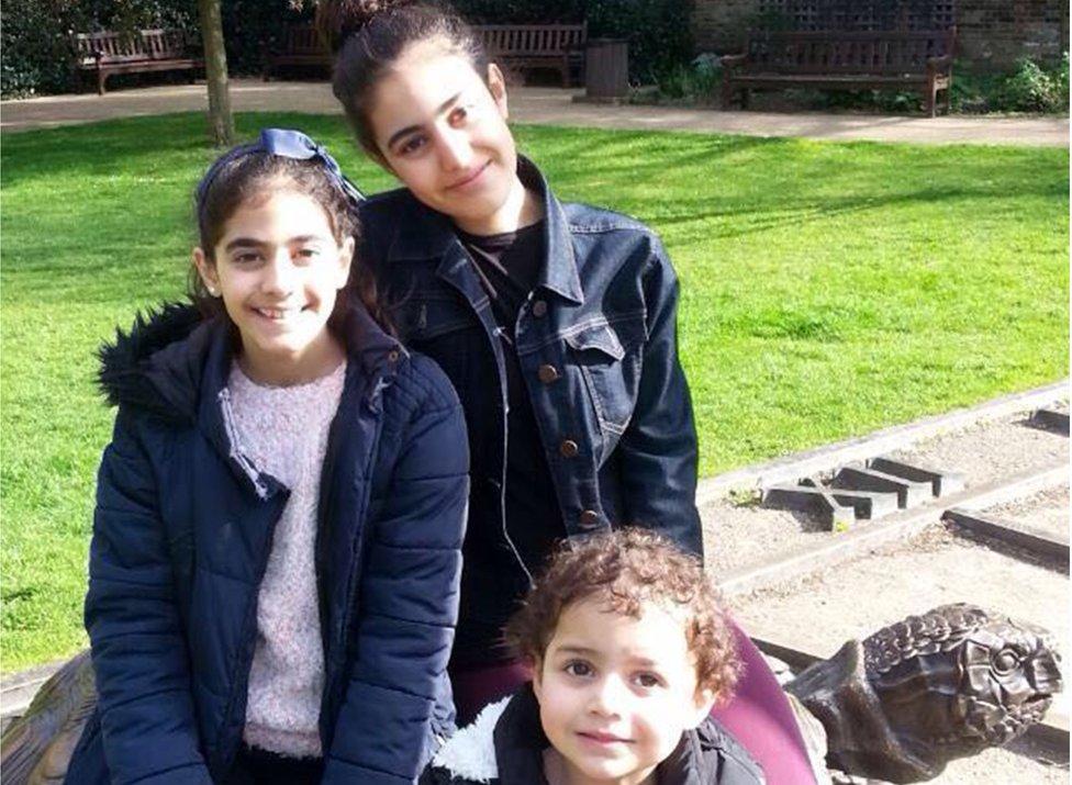 Fatima, Zainab and Mierna aged three, 10 and 13.