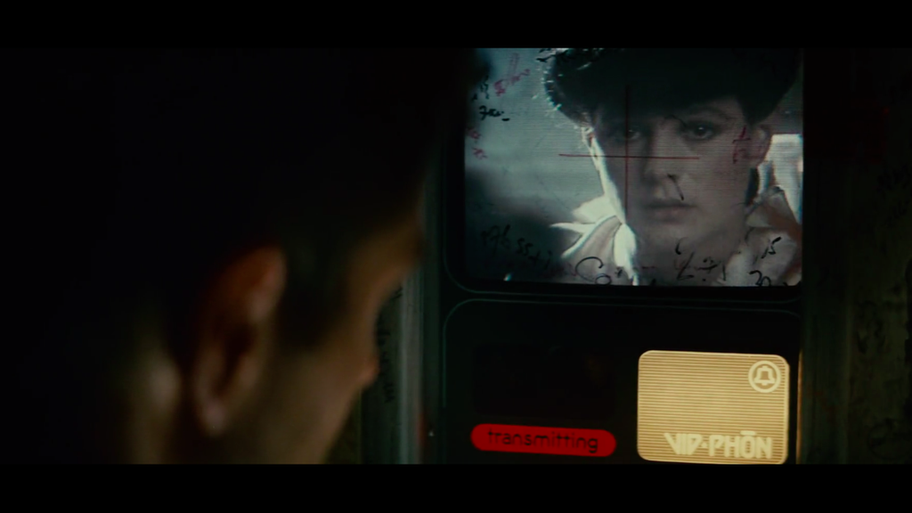 Deckard talks to Rachael on a video phone in Blade Runner