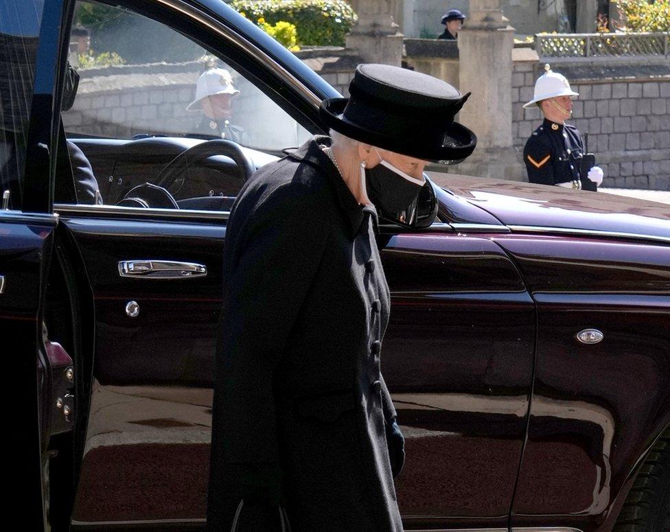 "Queen Elizabeth II arrives for the funeral of the Duke of Edinburgh at St George""s Chapel, Windsor Castle, Berkshire."