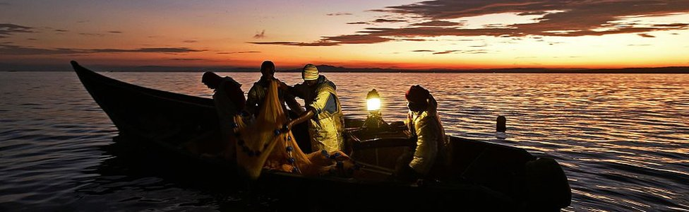 Kenyan fisherman pull up their nets in the early morning as they fish on Lake Victoria on March 3, 2016.