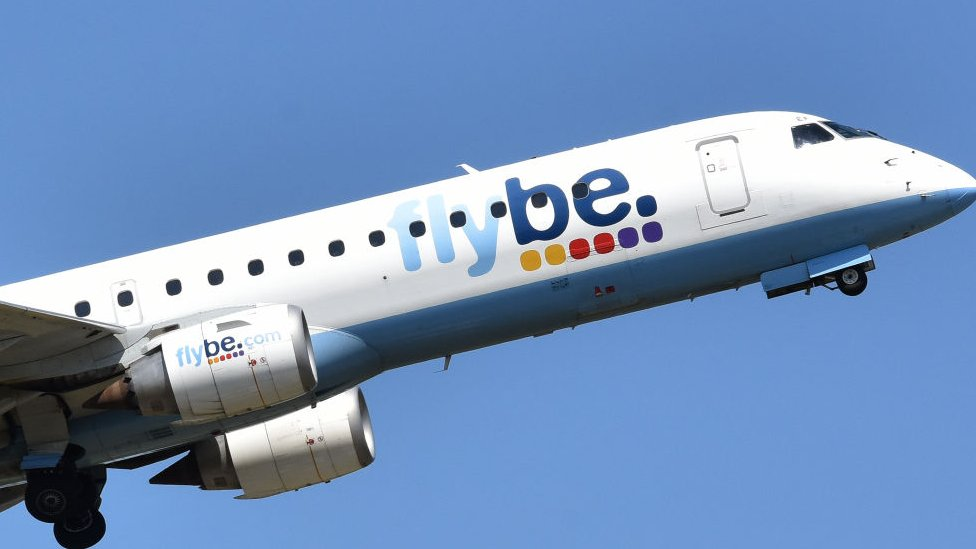 A Flybe aircraft taking off