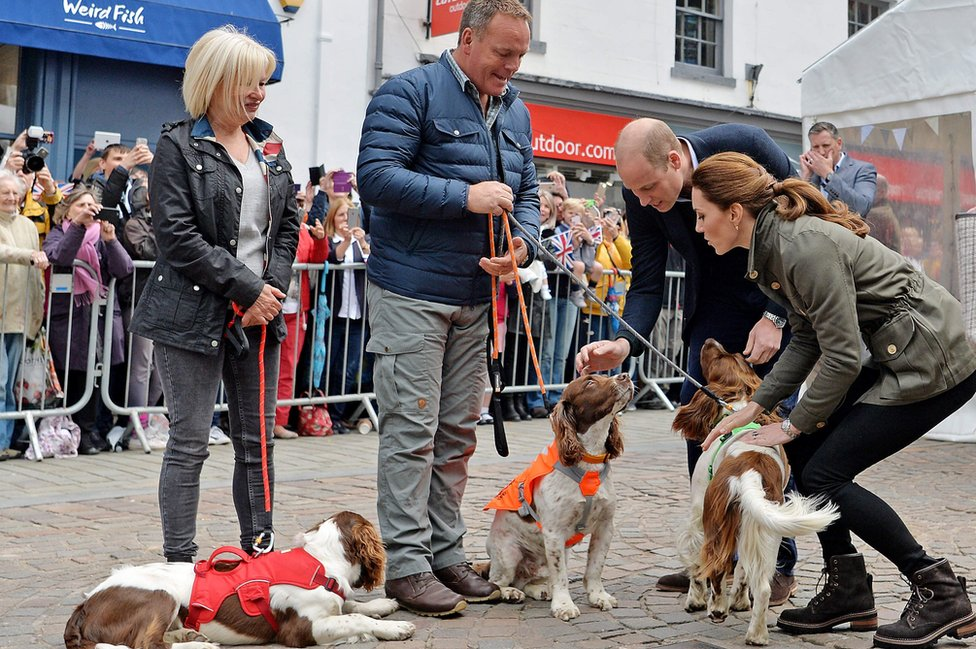 Angela, Kerry and the dogs with Prince William and Kate