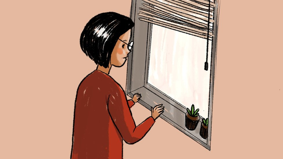 Illustration of a woman looking out of a window