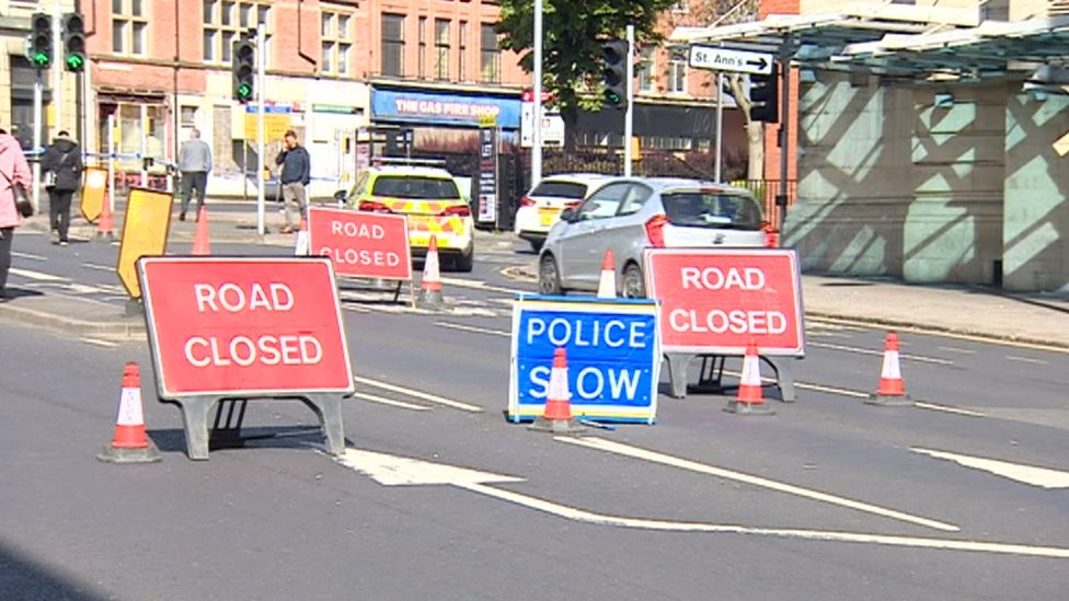Road closed outside Pryzm