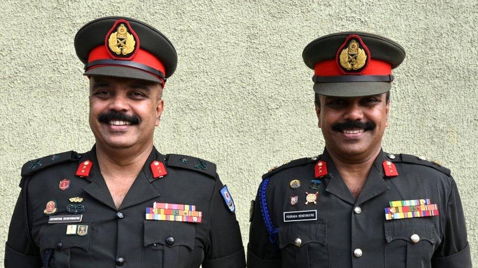 Sri Lankan Army generals twins, Jayantha (L) and Pooraka (R) Seneviratne