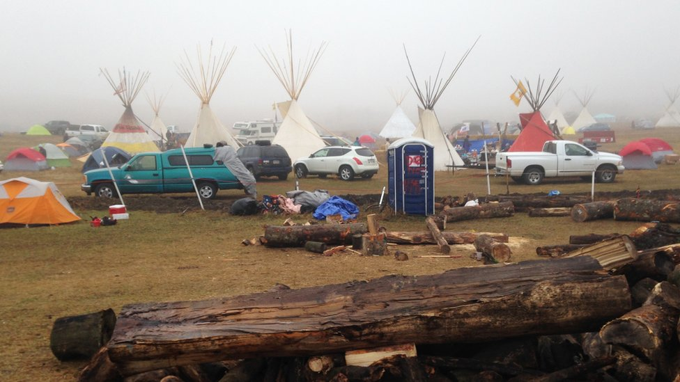Camp at pipeline