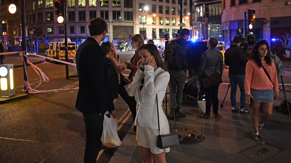 People at the scene of the London Bridge attack