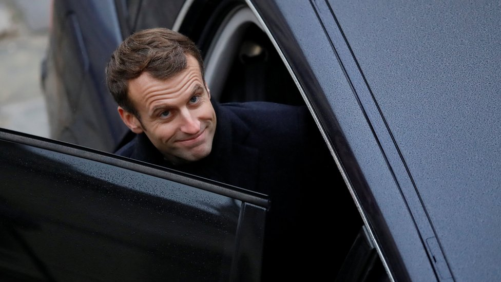 "French President Emmanuel Macron leaves after attending a ""prise d""armes"" military ceremony at the Invalides in Paris, France, November 26, 2018"