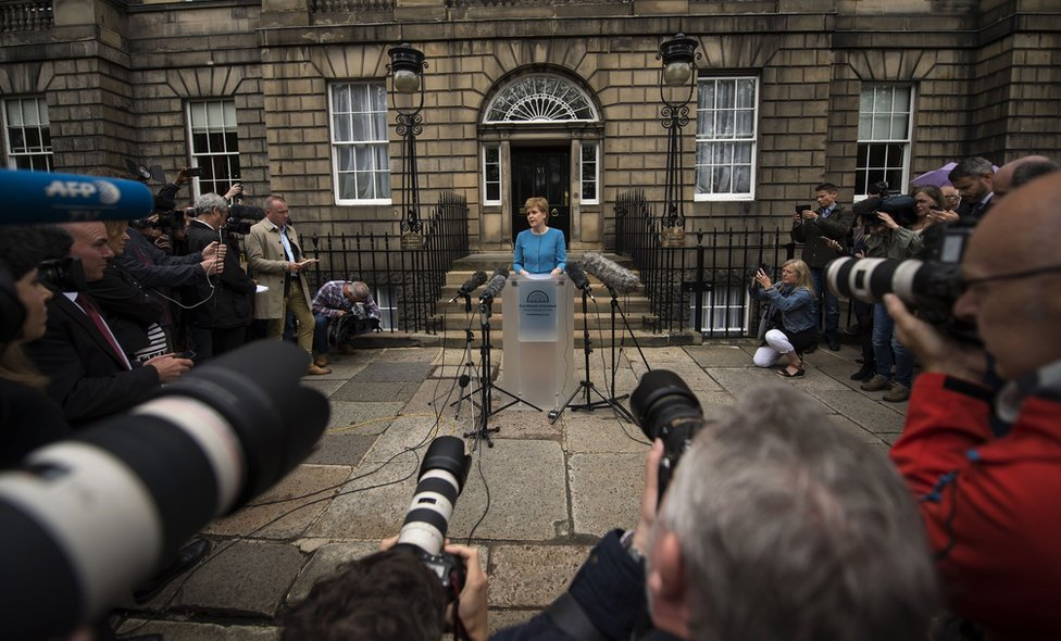 Nicola Sturgeon giving a press conference after the Brexit vote