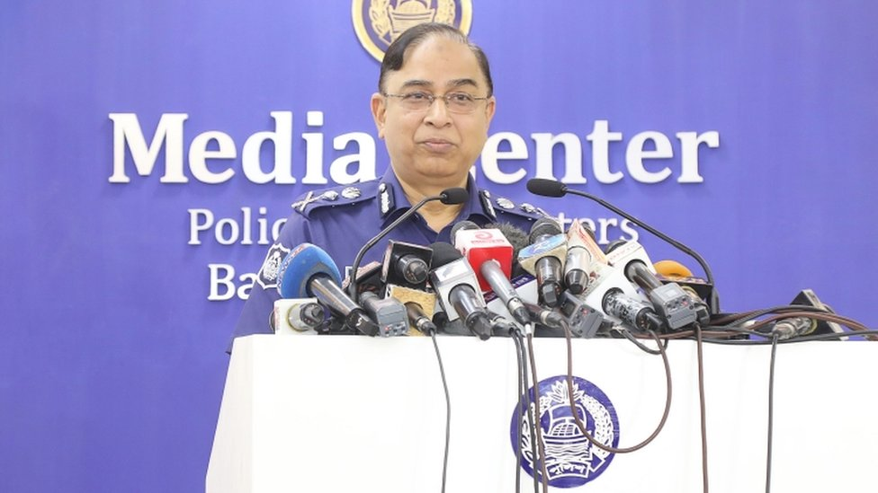 Bangladesh police chief Javed Patwary speaking at a press conference