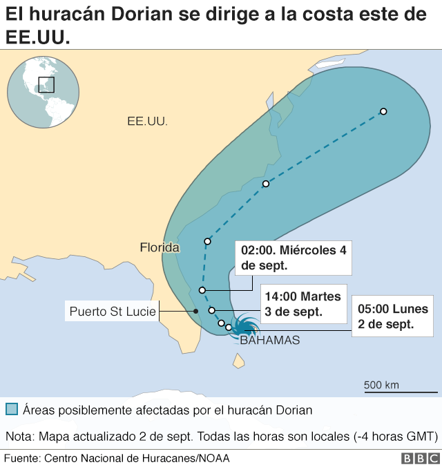 Mapa del recorrido del huracán Dorian.