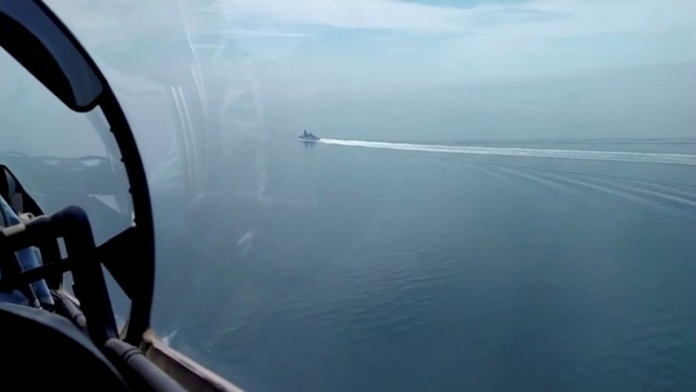 """a video released by Russia""""s Defence Ministry allegedly shows the HMS Defender"""