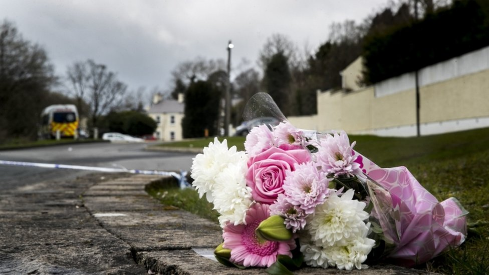 Flowers were left outside the Greenvale Hotel in Cookstown on Monday