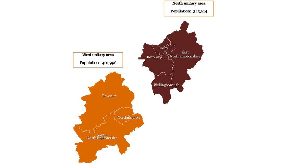 Map showing how the new councils will become two unitaries