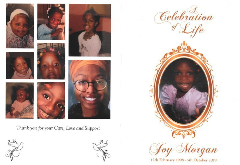 Order of service for Joy's funeral