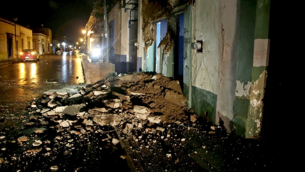 Damage in the Mexican city of Oaxaca, about 300km from the epicentre