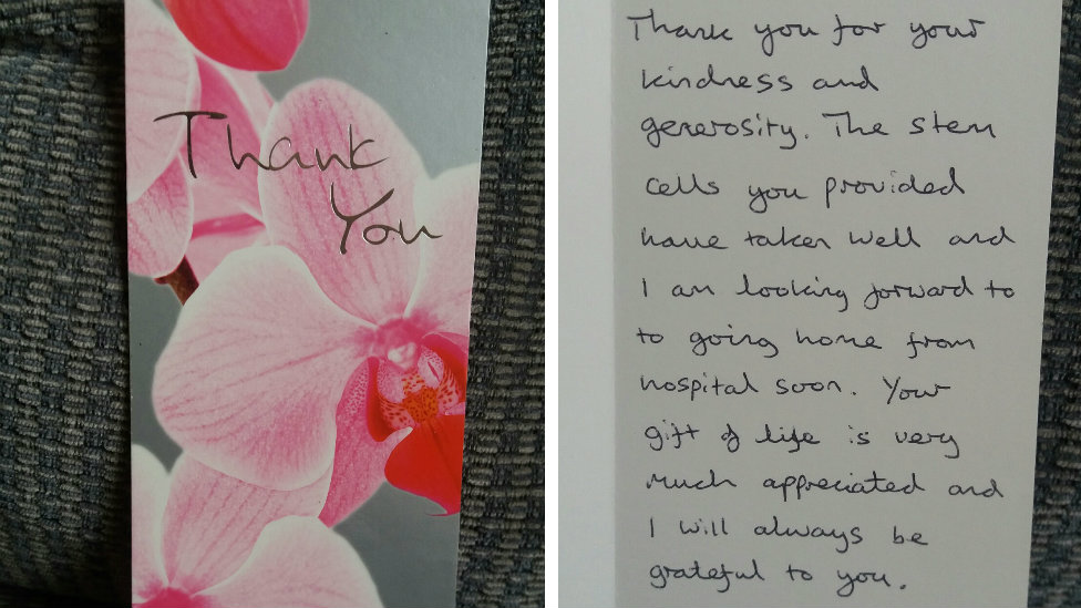 Thank you card sent by Gary to Karen