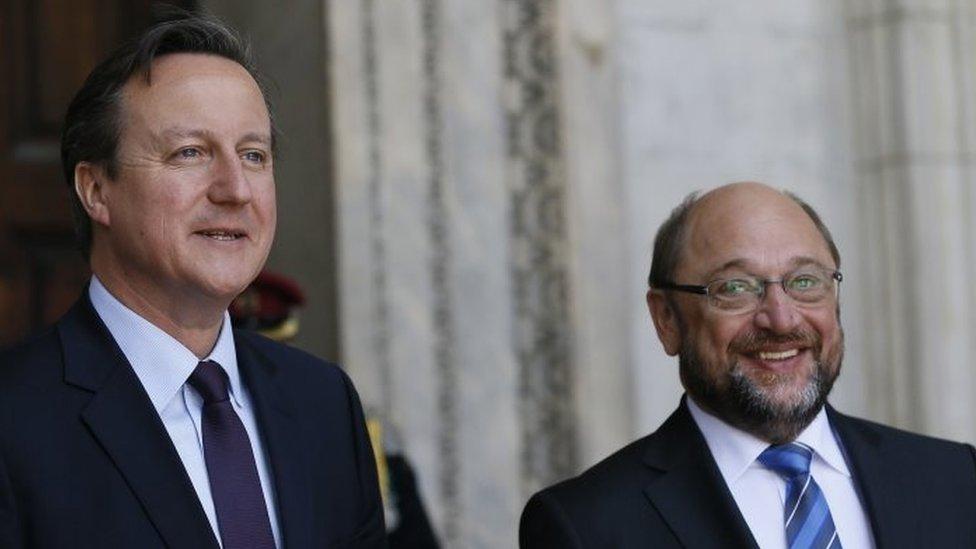 David Cameron with European Parliament President Martin Schulz