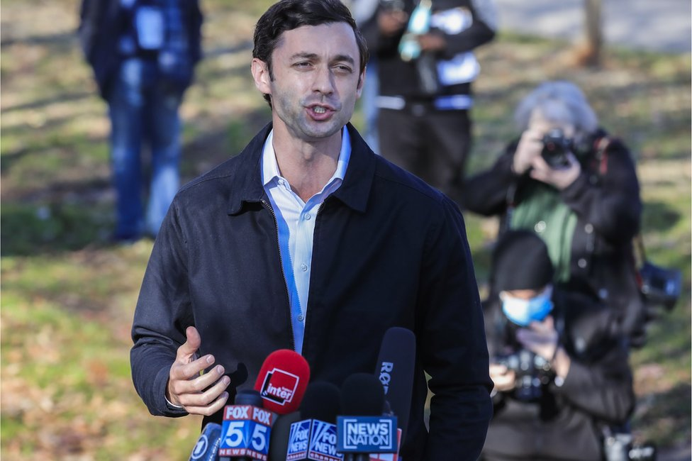 Jon Ossoff speaks to the media at the Dunbar Neighborhood Centre poling location in Atlanta, Georgia, USA, 5 January 2021