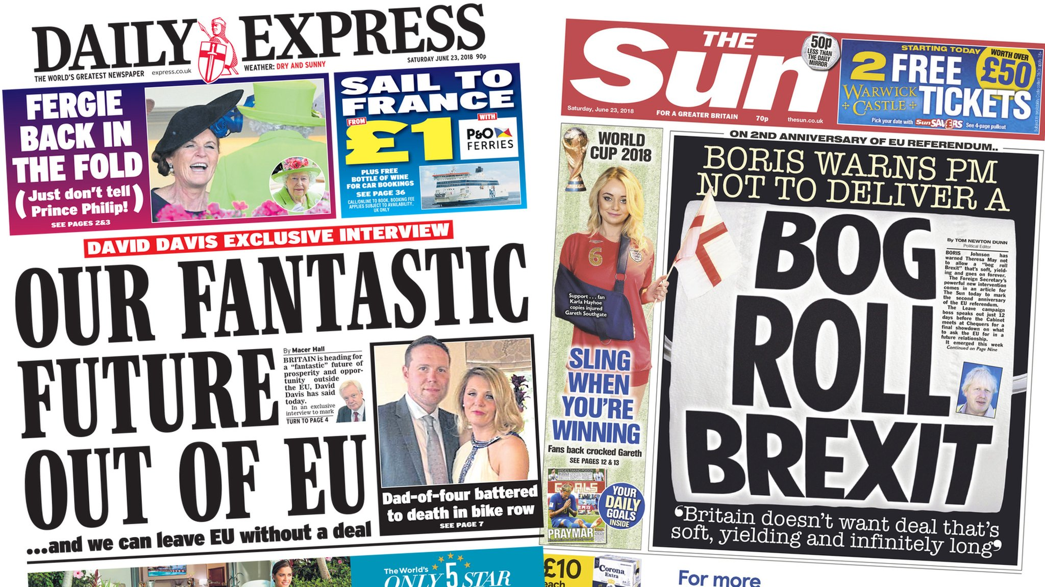 Newspaper headlines: 'Fantastic Brexit' and 'bog roll Brexit'