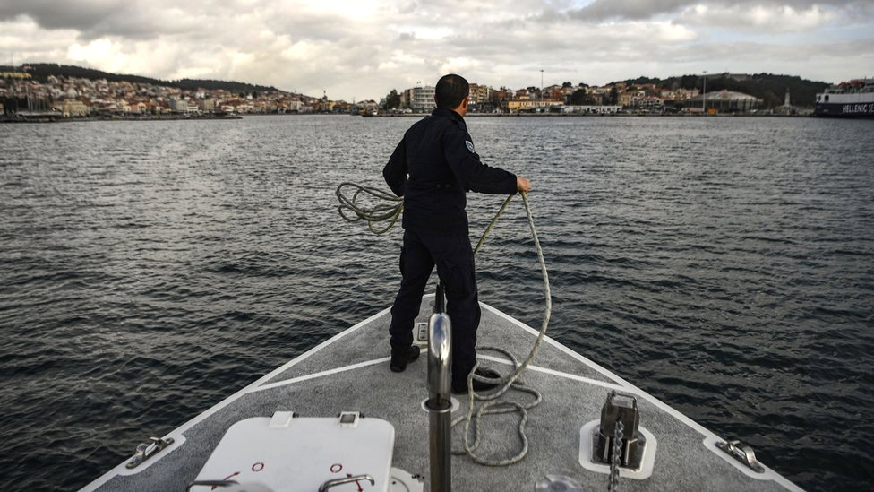 The Greek coast guard arrives at the port of Mytilene after patrolling on the Mediterranean sea between the Greek island of Lesbos and Turkey, 19 March 2019
