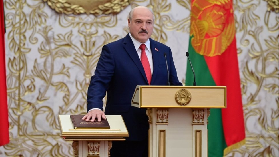 Alexander Lukashenko takes the oath of office as Belarusian President during a swearing-in ceremony in Minsk, Belarus September 23