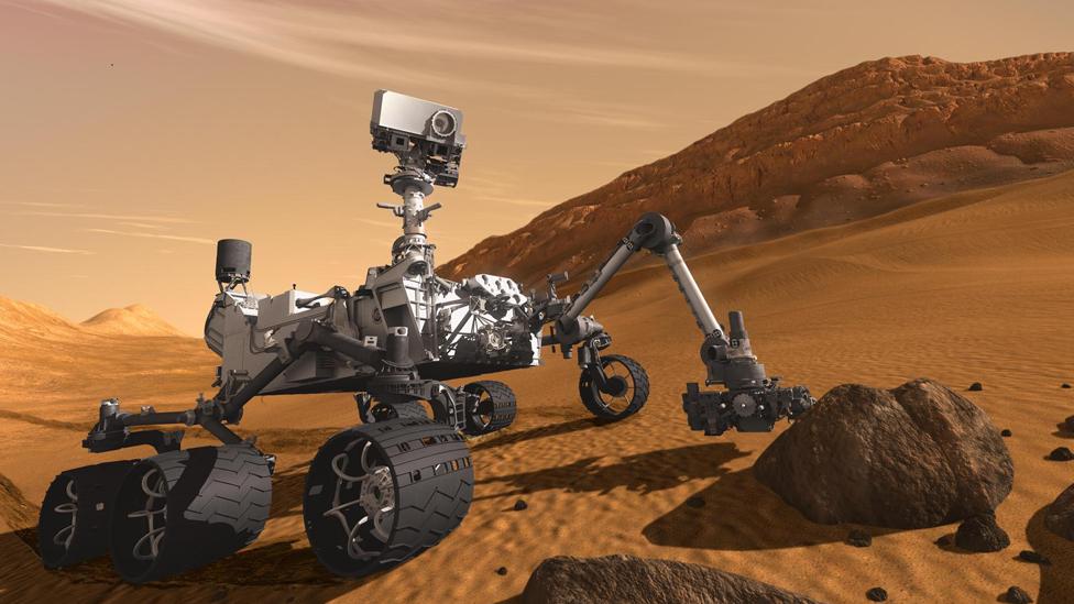 Ilustración del rover Curiosity en la superficie de Marte