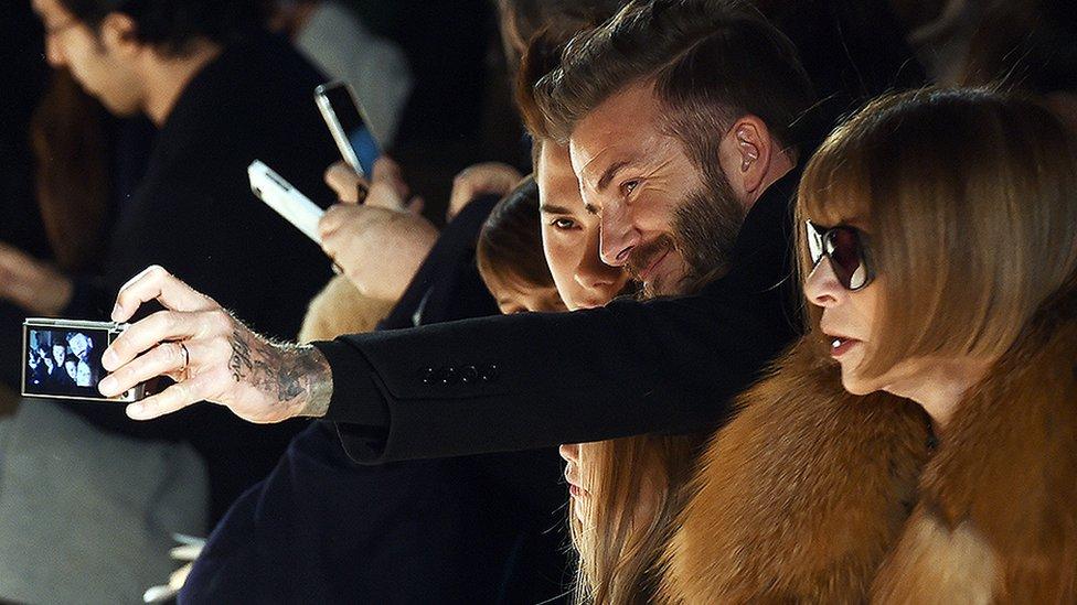 David Beckham y Anna Wintour
