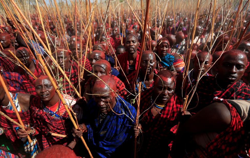 "Maasai men of Matapato attend the Olng""esherr (meat-eating) passage ceremony to unite two age-sets; in Maparasha hills of Kajiado, Kenya September 23"
