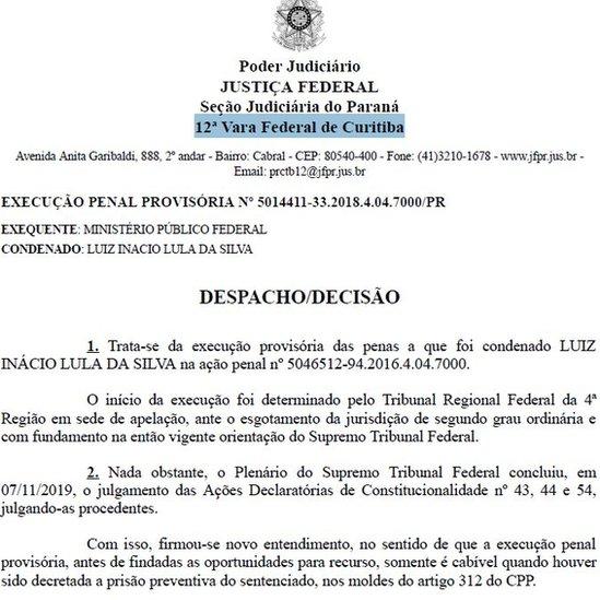 La decisión del tribunal se produjo en respuesta a una solicitud de los abogados de Lula.