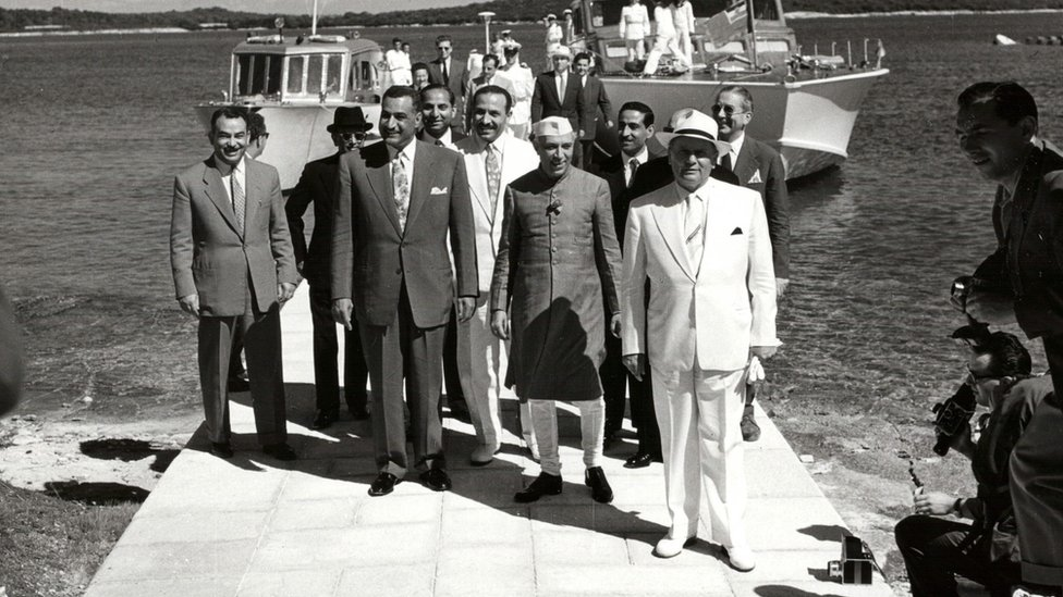 Odlazak na Vangu predsednika Tita, predsednika Nasera i premijera Nehra, 18.07.1956.