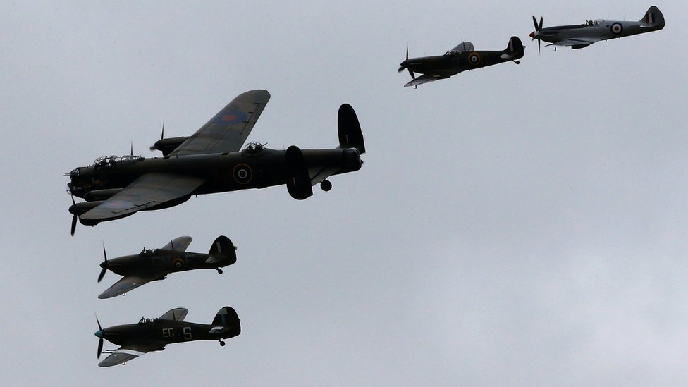 Aircraft from the Battle of Britain Memorial Flight are flown in an air display to mark the Flight's 60th Anniversary at RAF Coningsby