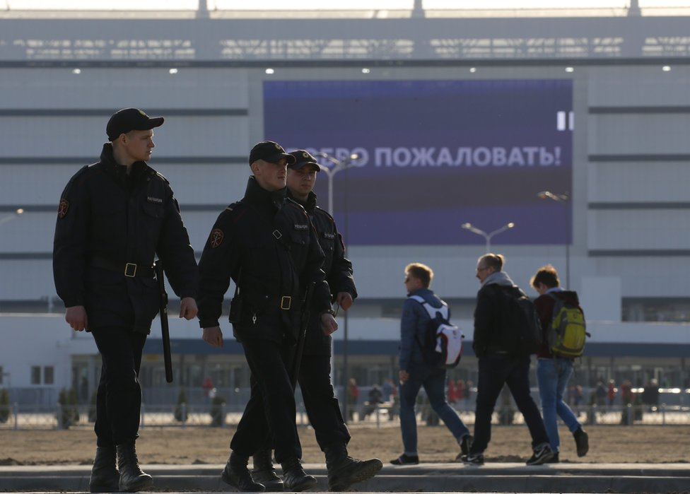Police outside Kaliningrad stadium