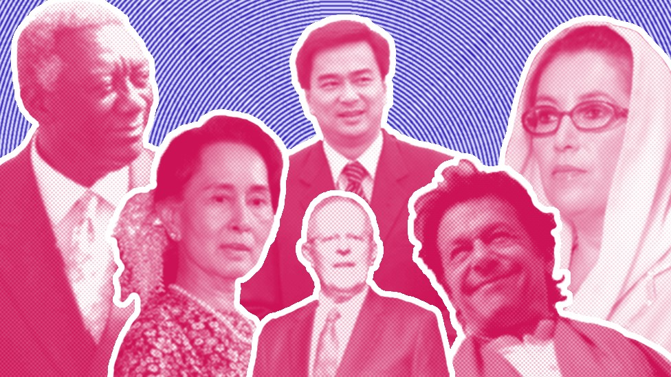 صورة لقادة تخرجوا من جامعة أوكسفورد، جون كوفور، الرئيس السابق لغانا، وأونغ سان سو كي مستشار الدولة في ميانمار، وأبهيسيت فيجاجيفا رئيس وزراء تايلاند السابق وبيدرو بابلو كوتشينسكي رئيس وزراء بيرو السابق وعمران خان رئيس الوزراء الحالي لباكستان وبنظير بوتو ، رئيسة وزراء باكستان السابقة.