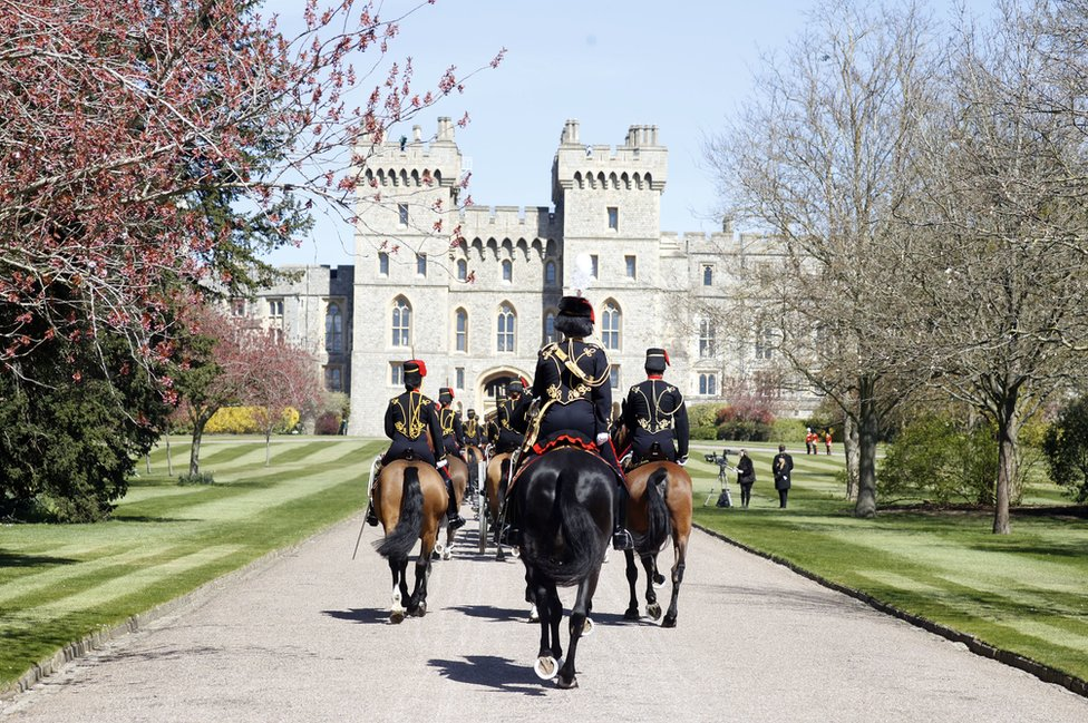 King's Troop Royal Horse Artillery make their way up The Long Walk towards Windsor Castle ahead of the funeral of the Duke of Edinburgh in Windsor Castle, Berkshire. April 17, 2021