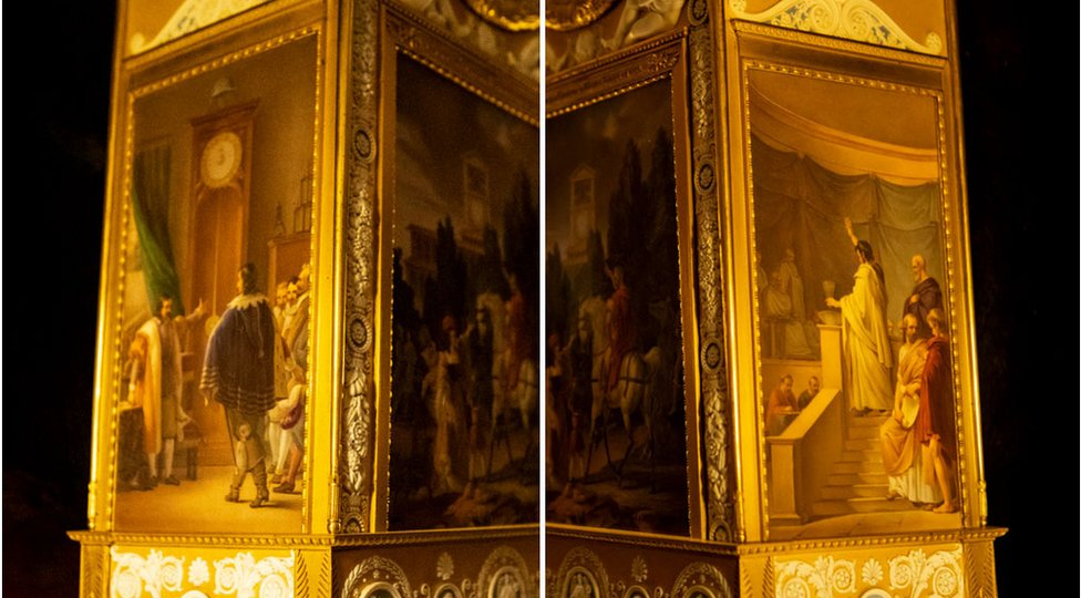 A composite image showing the two sides of a clock that have panel paintings