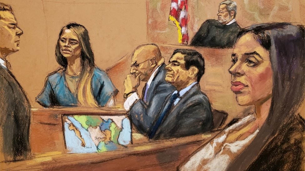 "Lucero Guadalupe Sanchez Lopez, girlfriend (2nd L) of accused Mexican drug lord Joaquin ""El Chapo"" Guzman (2nd R), testifies as Guzman""s wife Emma Coronel (R) looks on from the gallery"