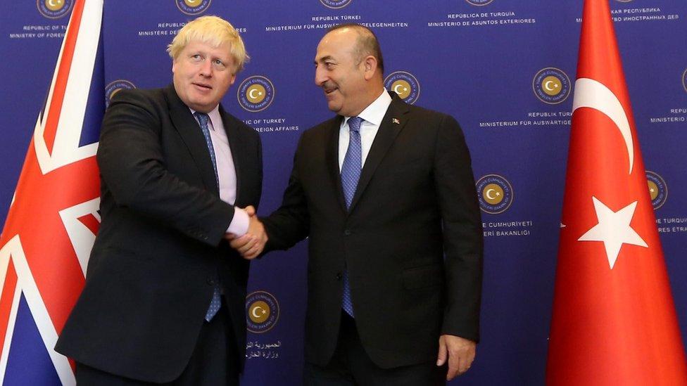 Boris Johnson and Mevlut Cavusoglu