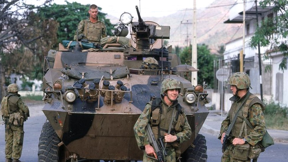 UN peacekeeping force on patrol Dili in 1999