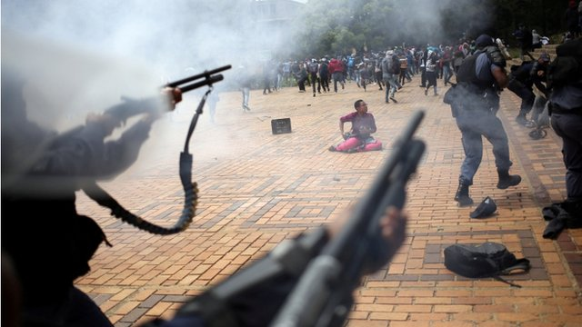"Clashes with South African police at Johannesburg""s University of the Witwatersrand, South Africa"