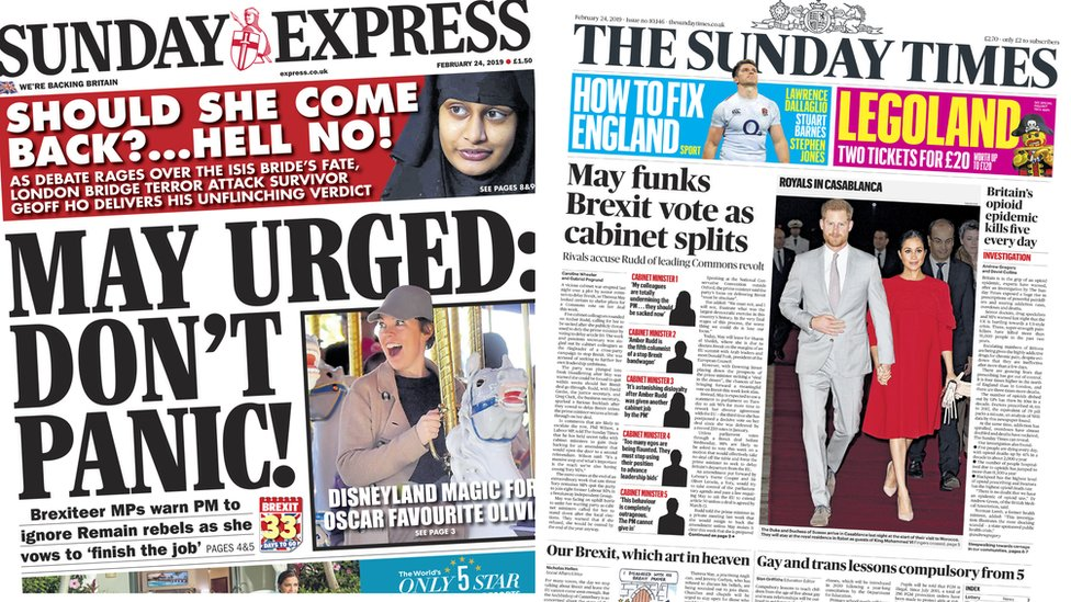 The Papers: Cabinet 'splits' and 'don't panic' pleas