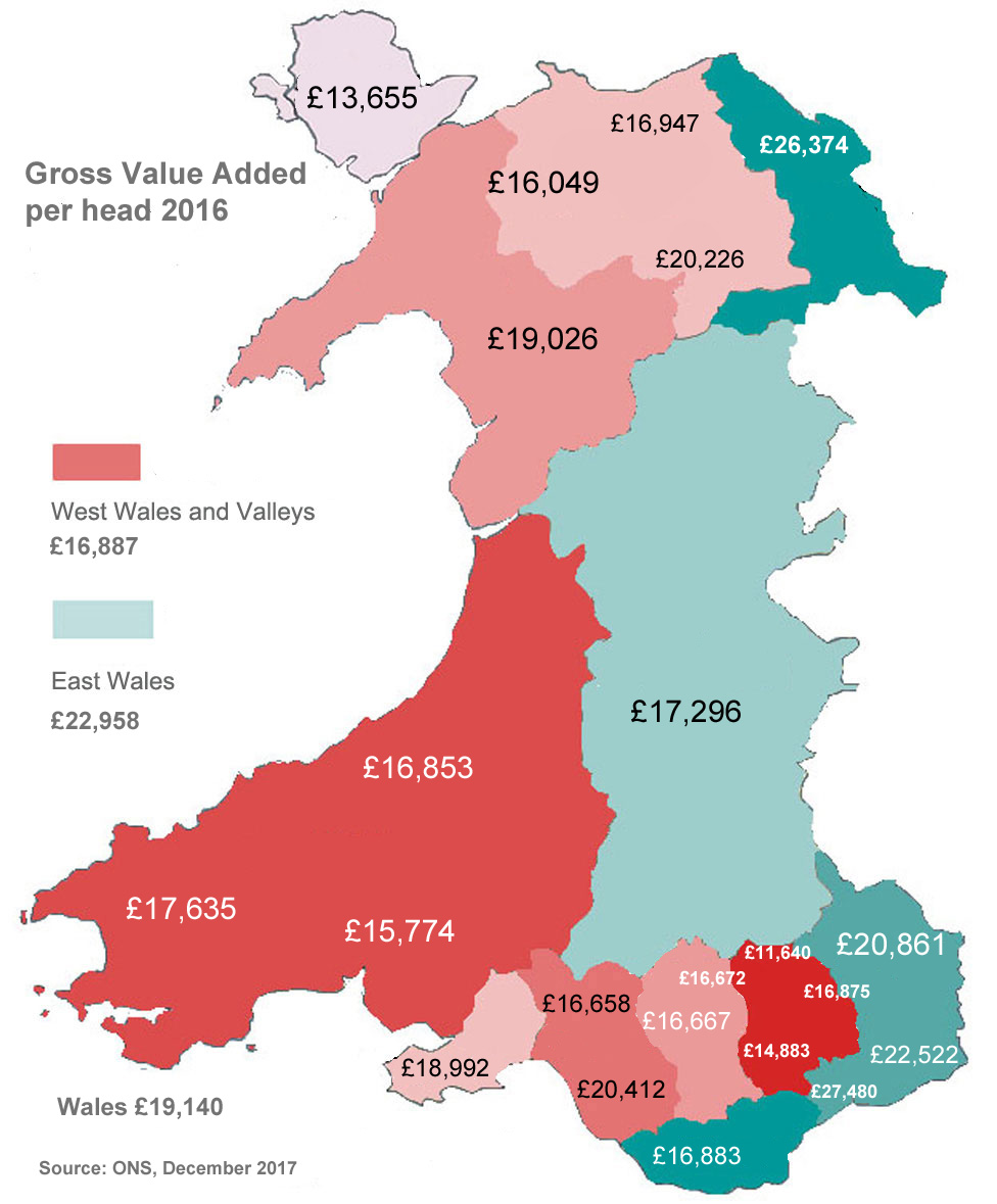 This map shows the GVA per head in different parts of Wales